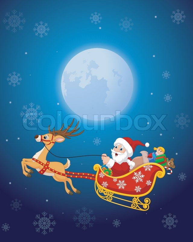stock vector of vector illustration of cartoon santa in his christmas sled being pulled by - Santa With Reindeer Pictures