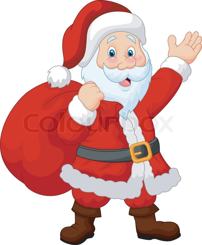 vector illustration of happy santa cartoon with sack