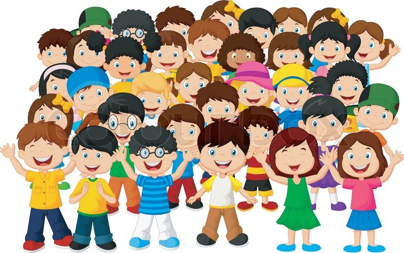 vector illustration of crowd children cartoon stock vector colourbox
