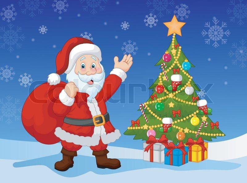 stock vector of vector illustration of cartoon santa clause with christmas tree - Christmas Tree Santa