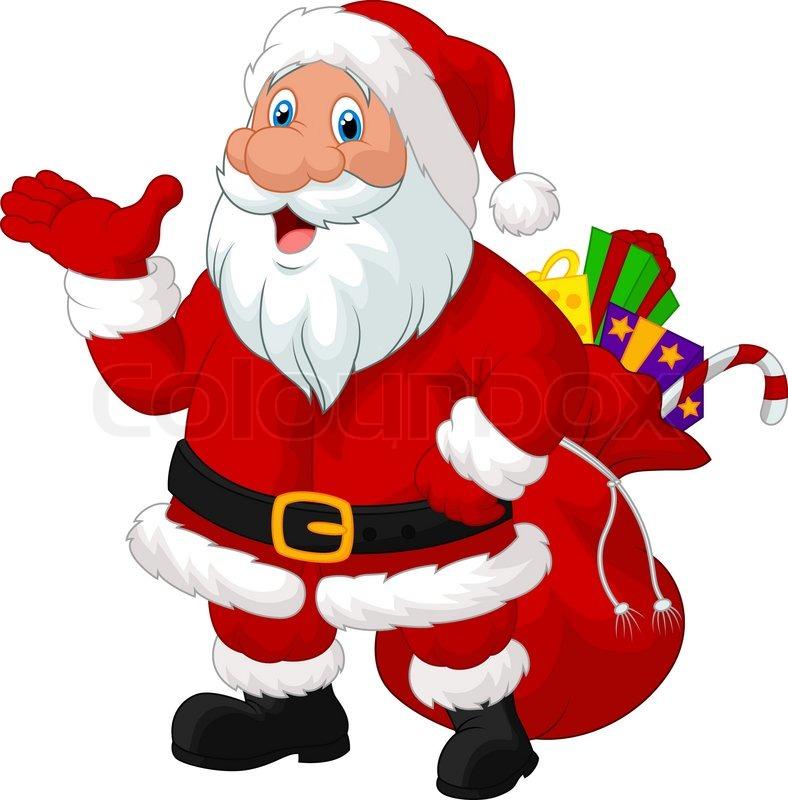 vector illustration of happy santa cartoon with sack | stock vector