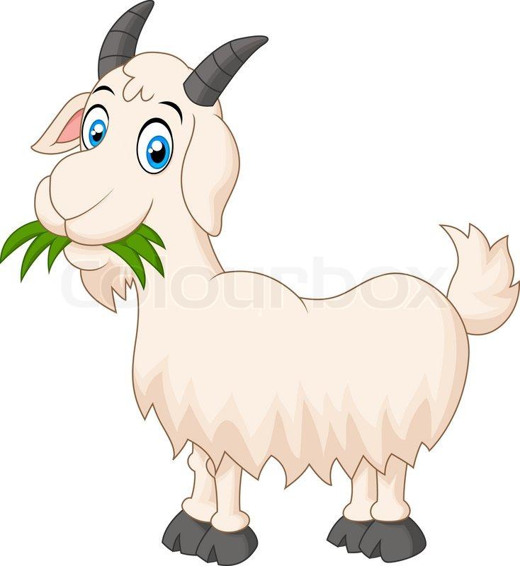 vector illustration of cartoon goat eating grass stock vector rh colourbox com Cartoon Horse Cartoon Horse