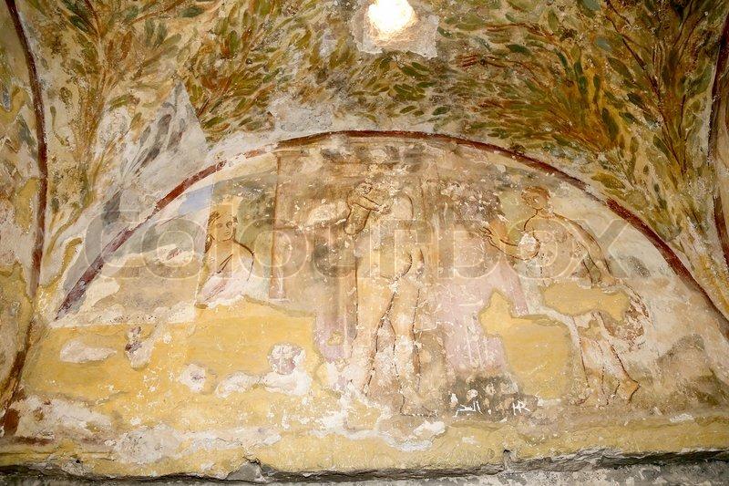 Fresco at Quseir (Qasr) Amra desert castle near Amman, Jordan. World ...