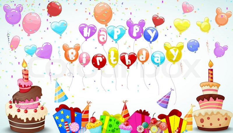 Vector illustration of Birthday background with cartoon colorful