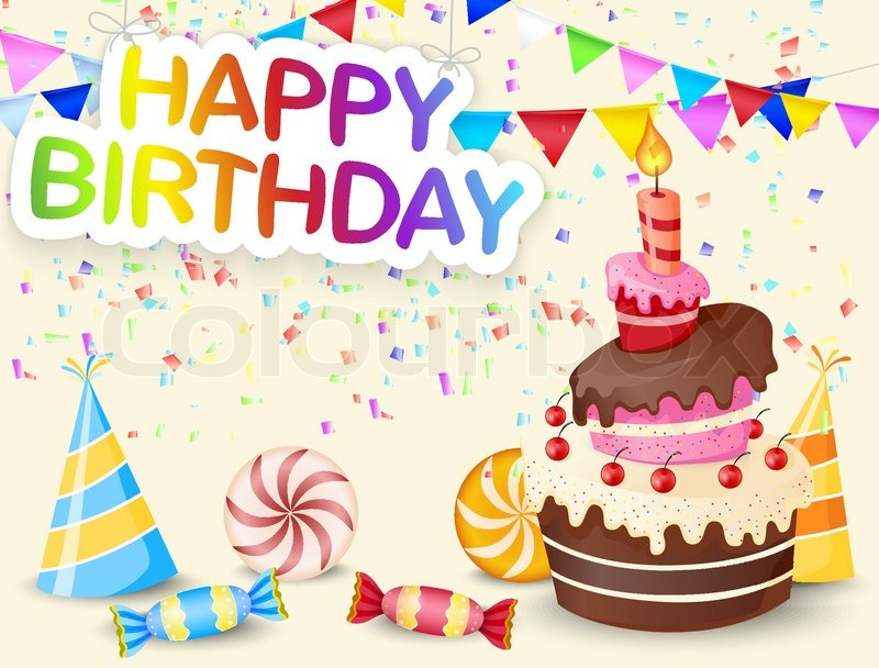 Vector Illustration Of Birthday Background With Birthday Cake