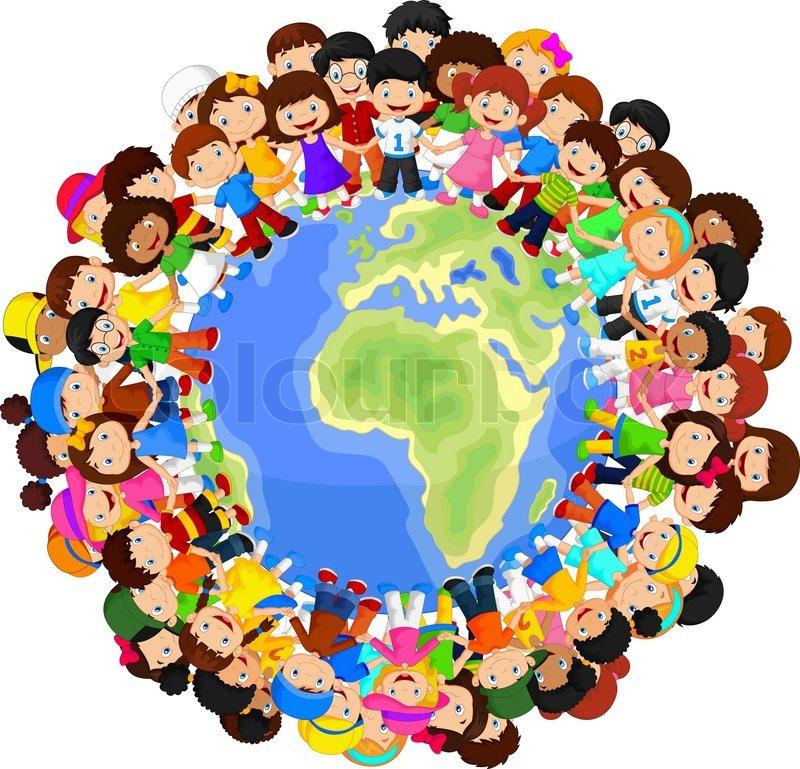 multicultural children cartoon on planet earth - Cartoon Children Images