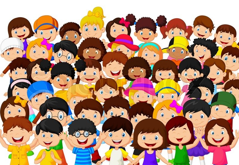 Vector illustration of Crowd children ... | Stock Vector ...