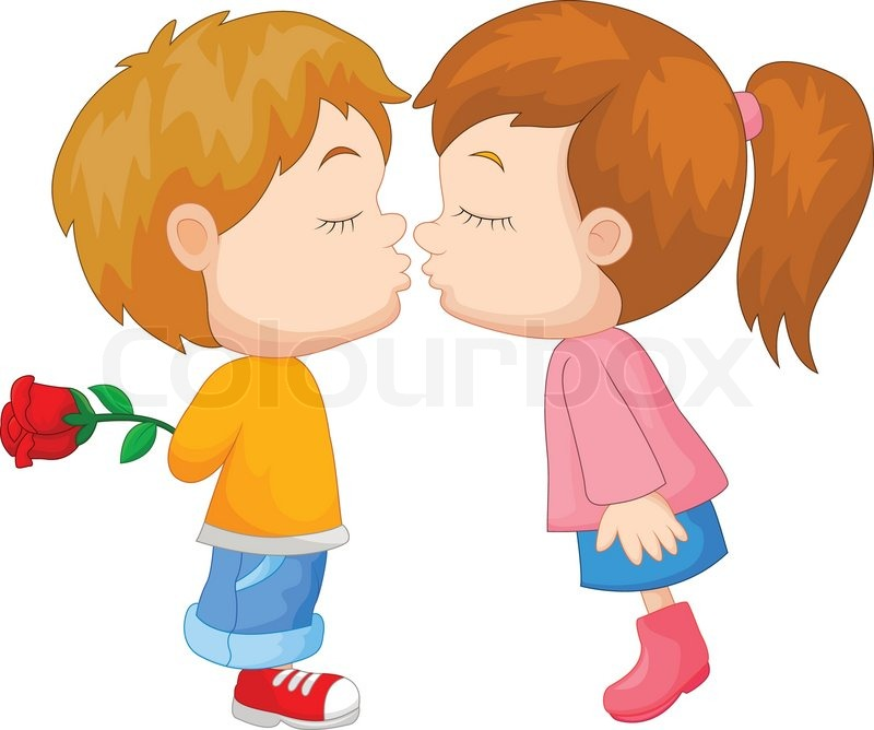 vector illustration of cartoon boy and girl kissing stock vector rh colourbox com cartoon girl and boy drawing cartoon girl and boy holding hands