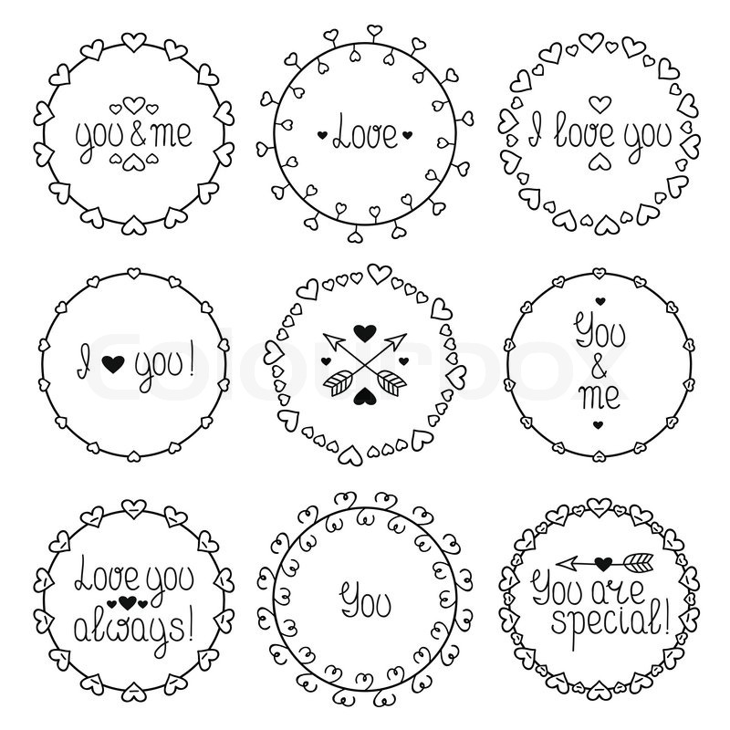 hand drawn frame of romantic pattern with hearts trendy doodle