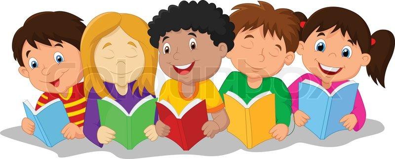 Children Reading Stock Vector Art More Images Of Baby: Vector Illustration Of Happy Children Cartoon Sitting On