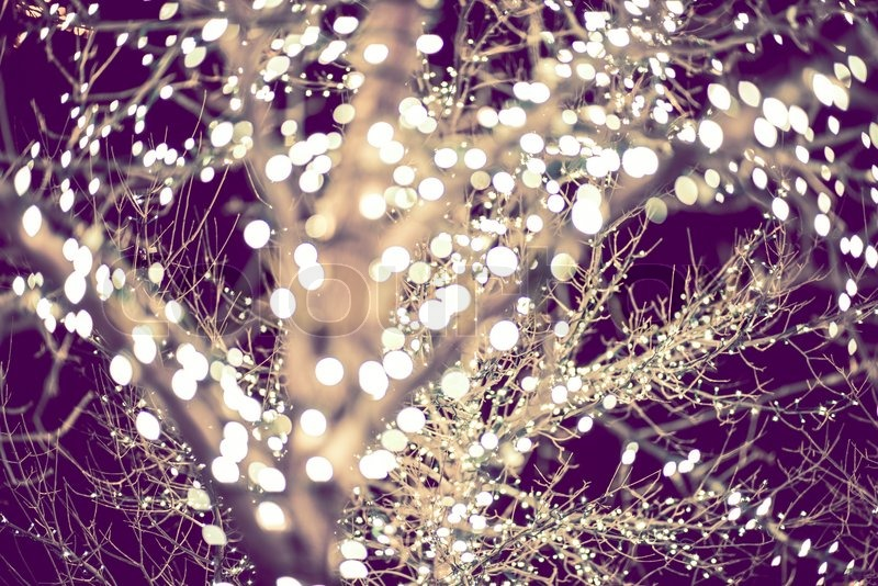 Holiday Lights Backdrop in Purple Color Grading. Christmas Lights Background, stock photo