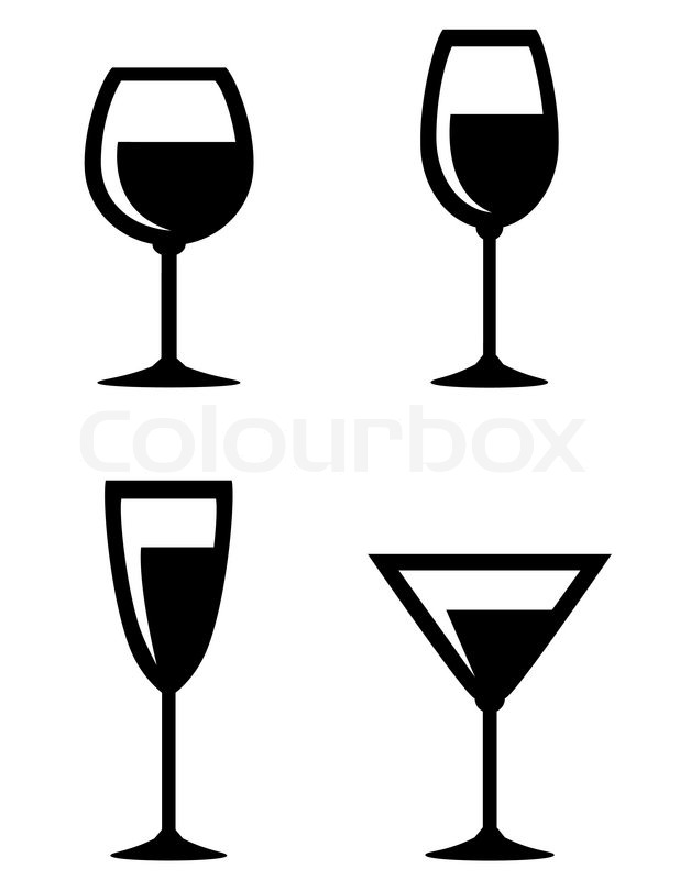 set of isolated wine glasses icons on white background stock rh colourbox com glass victoria grass vector art
