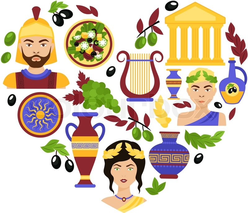 Greece history classical antique culture architecture and decoration symbols in heart shape vector illustration, vector
