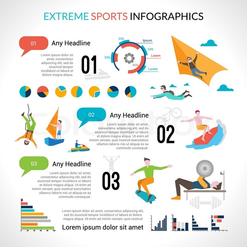Extreme sports infographics set with dangerous outdoor activities and charts vector illustration, vector