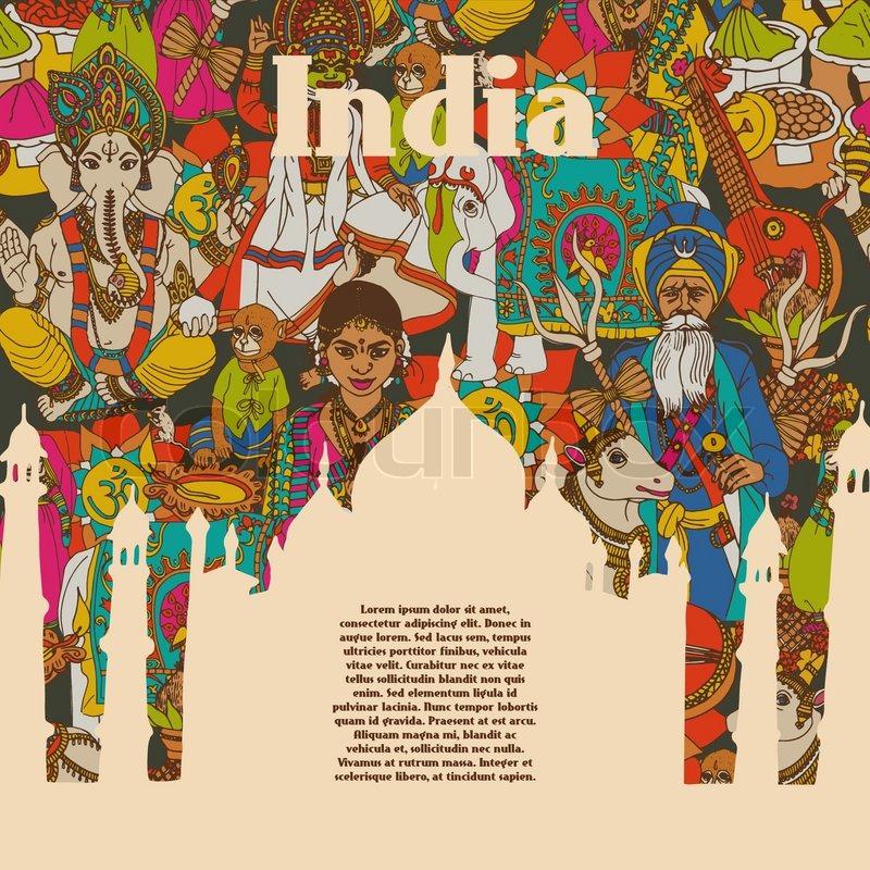 Hindu Poster Art: Idian Spiritual And Cultural Symbols Of Religion Folk
