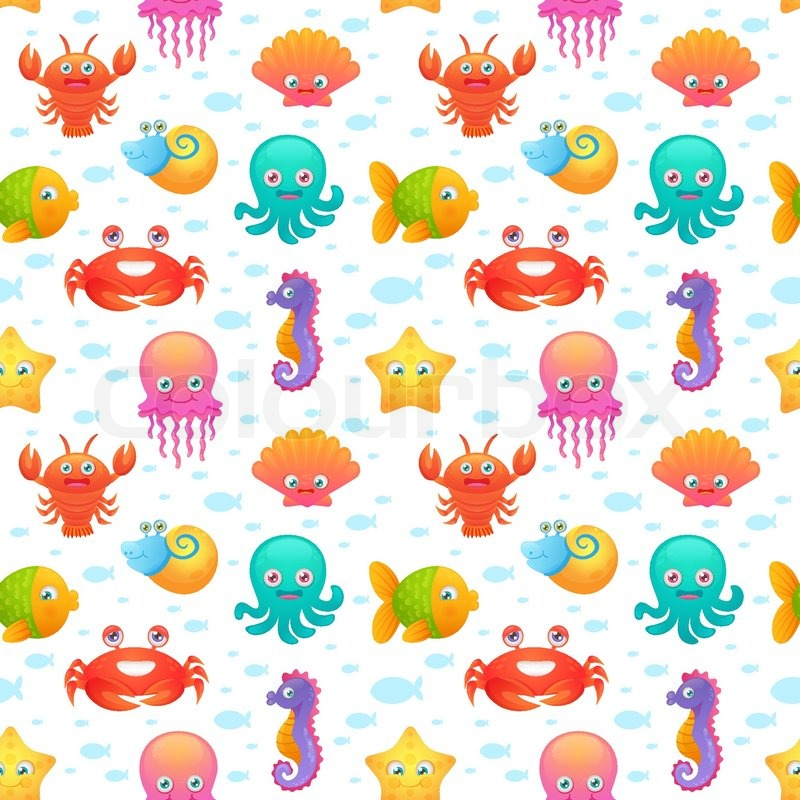 Cute collection of cartoon sea animals characters for children