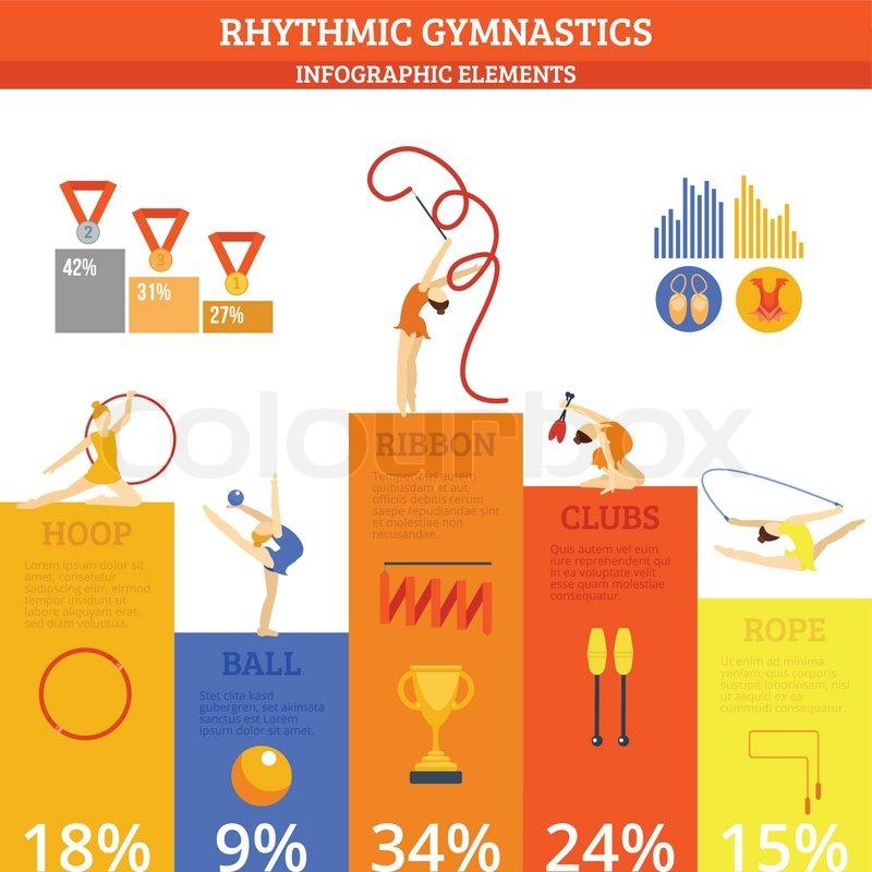 Rhythmics Gymnastics Infographics Set With Sport And Fitness Symbols