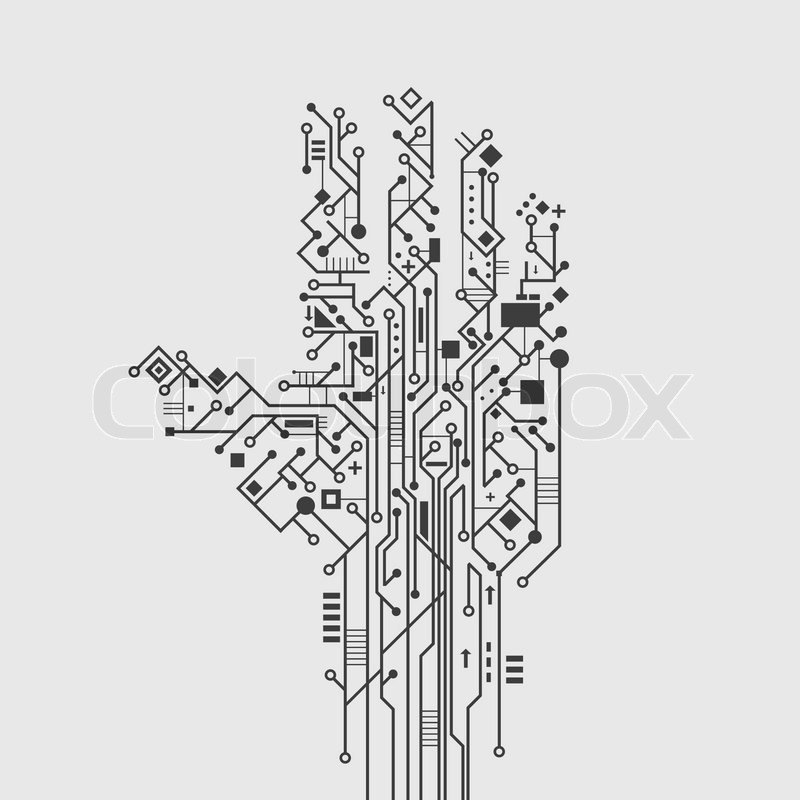 Computer circuit board in hand shape creative technology poster ...