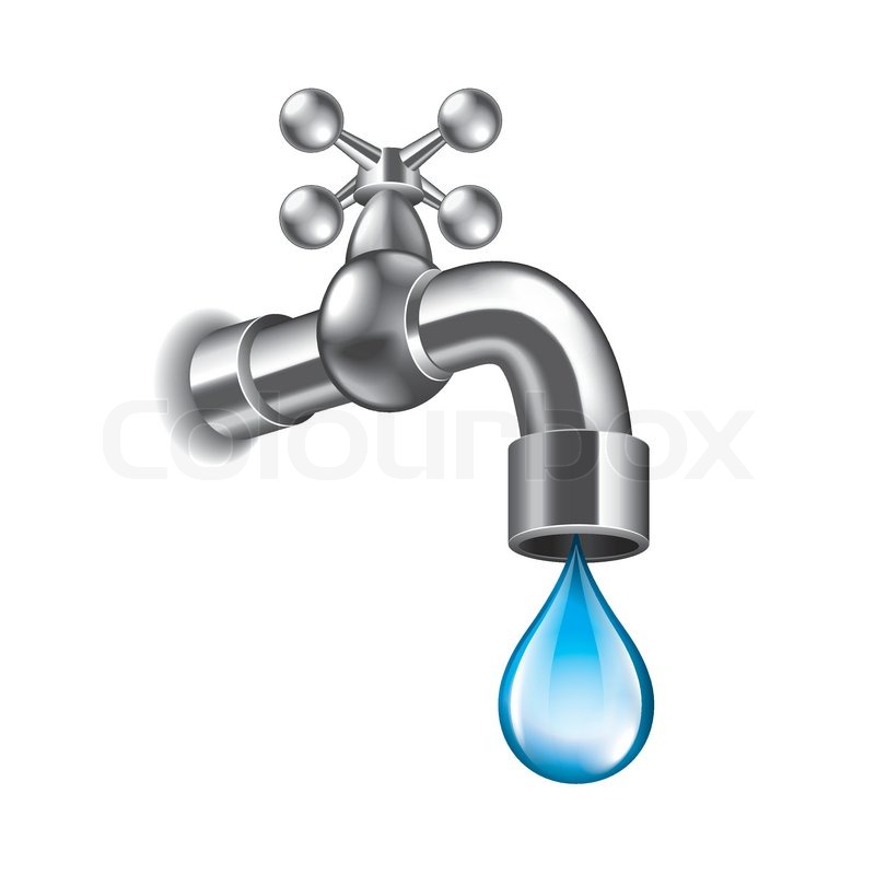 Water faucet isolated on white photo-realistic vector illustration ...