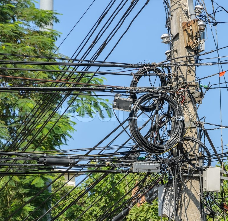 Messy Electric Cables On Pole In Stock Image Colourbox
