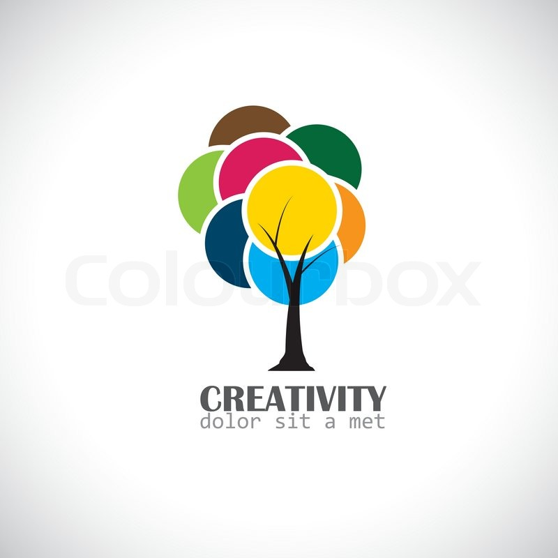 Colorful Unique Tree With Vibrant Leaves Abstract Concept Vector