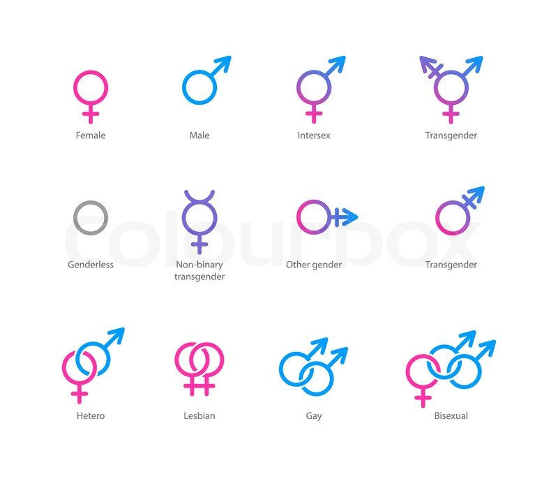 Vector Linear Pink And Blue Icons Of Gender Symbols And Its
