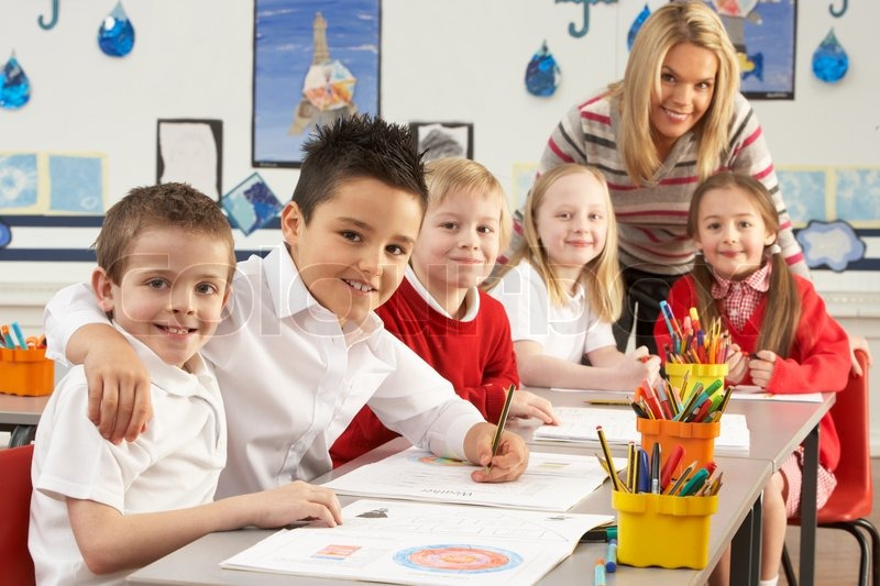 Group Of Primary Schoolchildren And Stock Photo