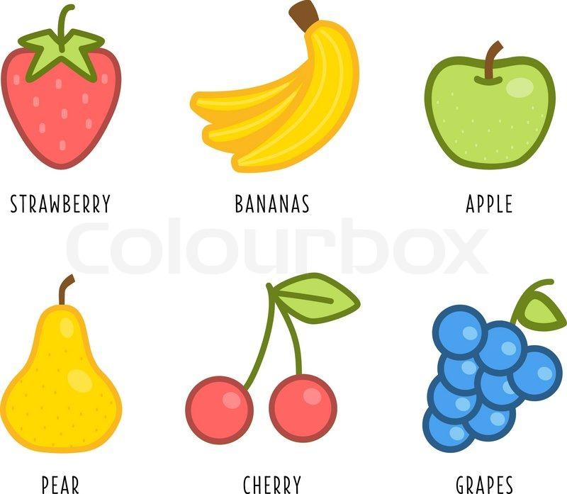 cartoon vegetables and fruits illustration of a modern flat style rh colourbox com cartoon kiwi fruit pictures free cartoon fruit pictures
