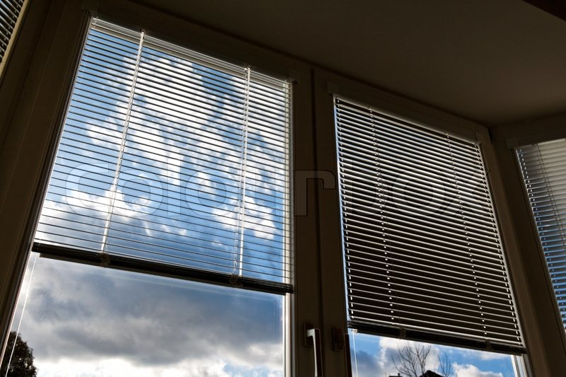 Window blinds for sun protection, heat protection, stock photo