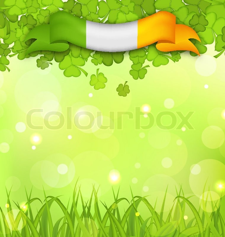 Illustration glowing nature background with shamrocks for Irish mail cart plans