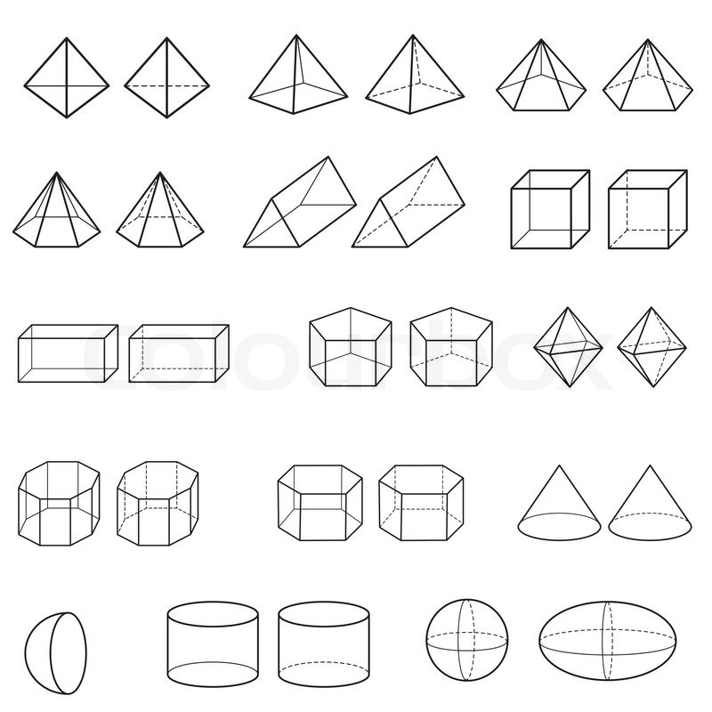 Image of 3d geometric shapes vector isolate on white | Stock ...
