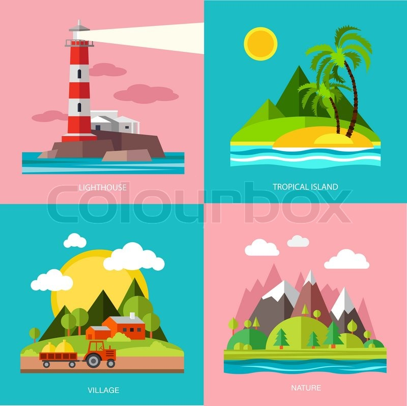 F >> Nature various subjects lighthouse, island, farm, mountain. Vector illustration in flat design ...