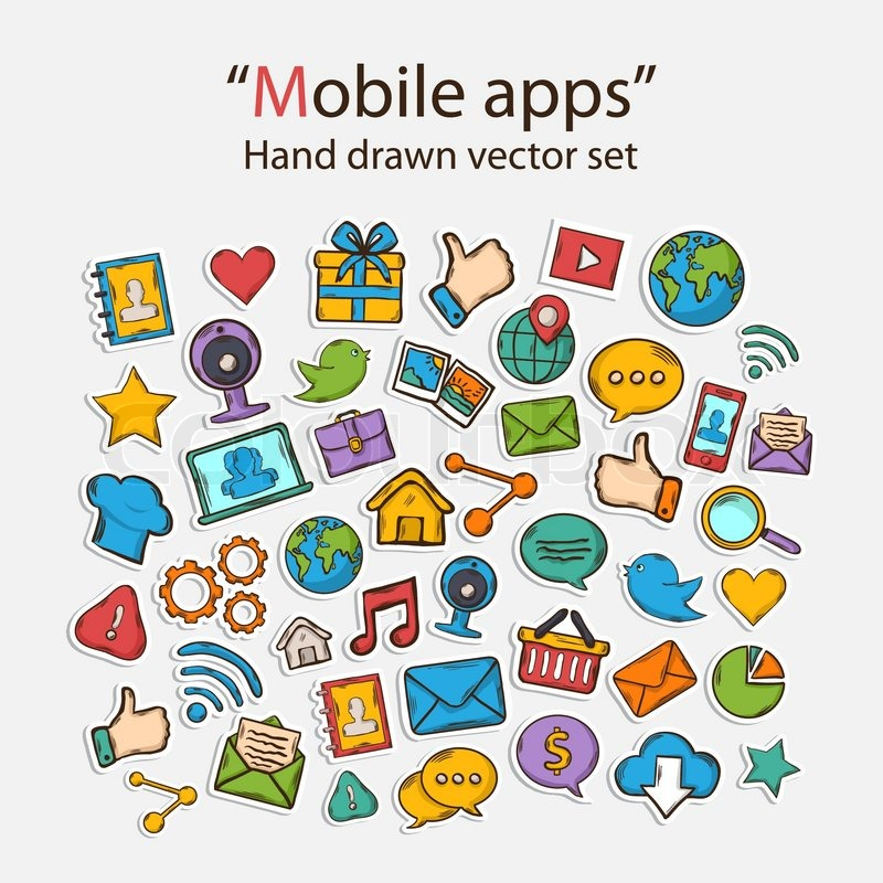 Vector mobile apps scrapbook sticker setwith web camgifthand stock vector of vector mobile apps scrapbook sticker setwith web cam gumiabroncs Image collections