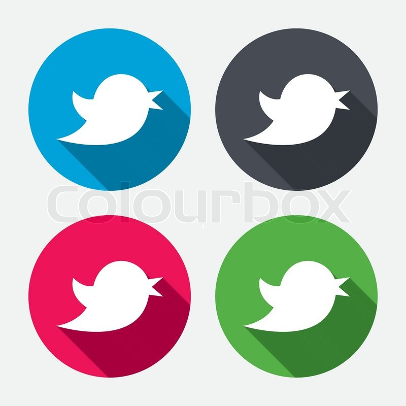 Bird Icon Social Media Sign Short Messages Twitter Symbol Circle Buttons With Long Shadow 4 Icons Set Vector