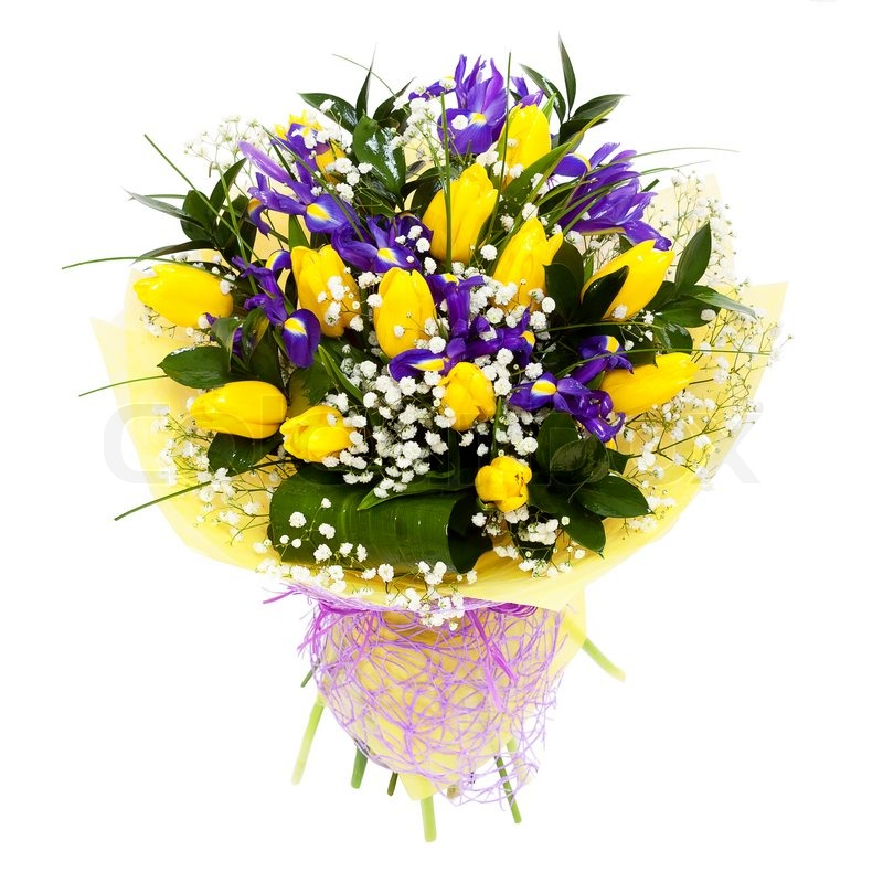 Yellow tulips flower arrangement bouquet. For mother\'s day ...