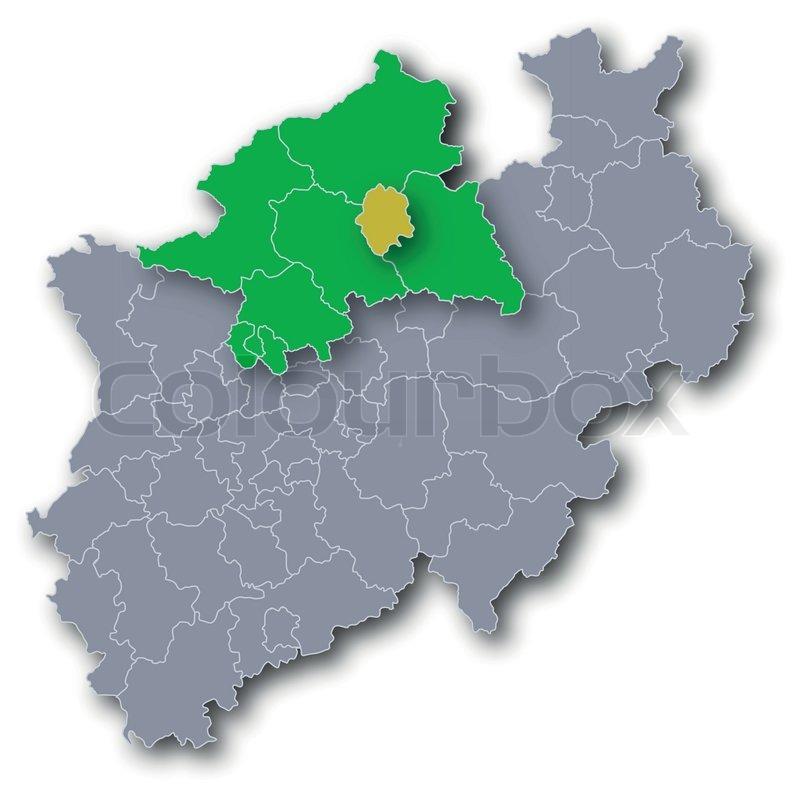 Karte Münsterland.Karte Regierungsbezirk Münster Und Stock Vektor Colourbox