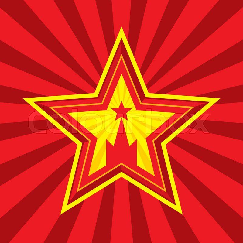 Star With Kremlin Symbol Vector Concept Illustration In Soviet