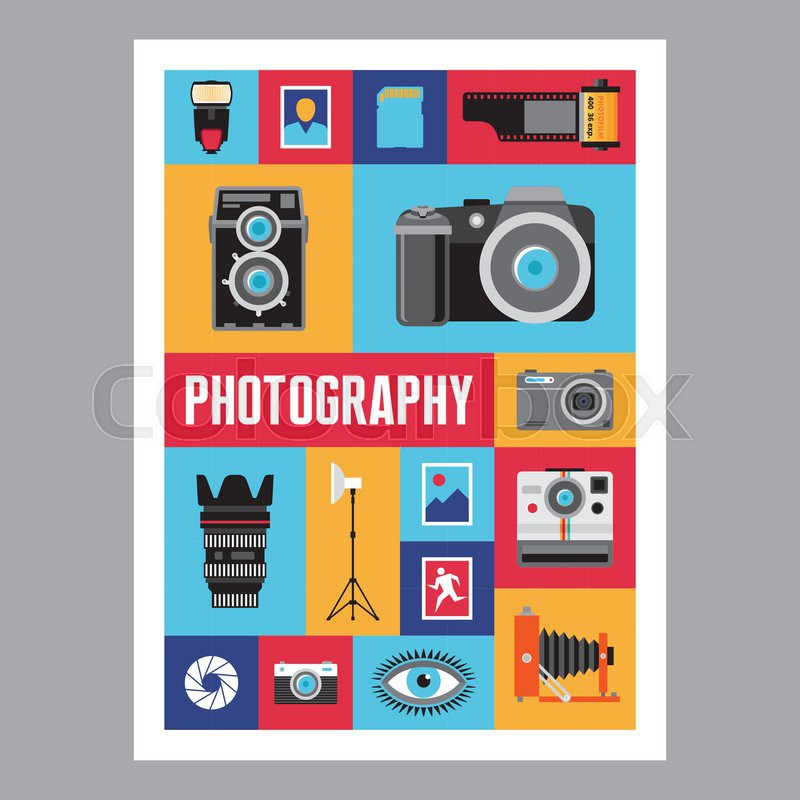 photography mosaic flat design poster vector icons set