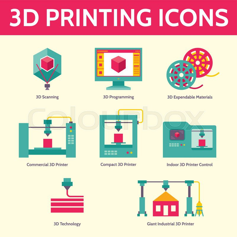 3d Print Vector Icons In Flat Design Style For