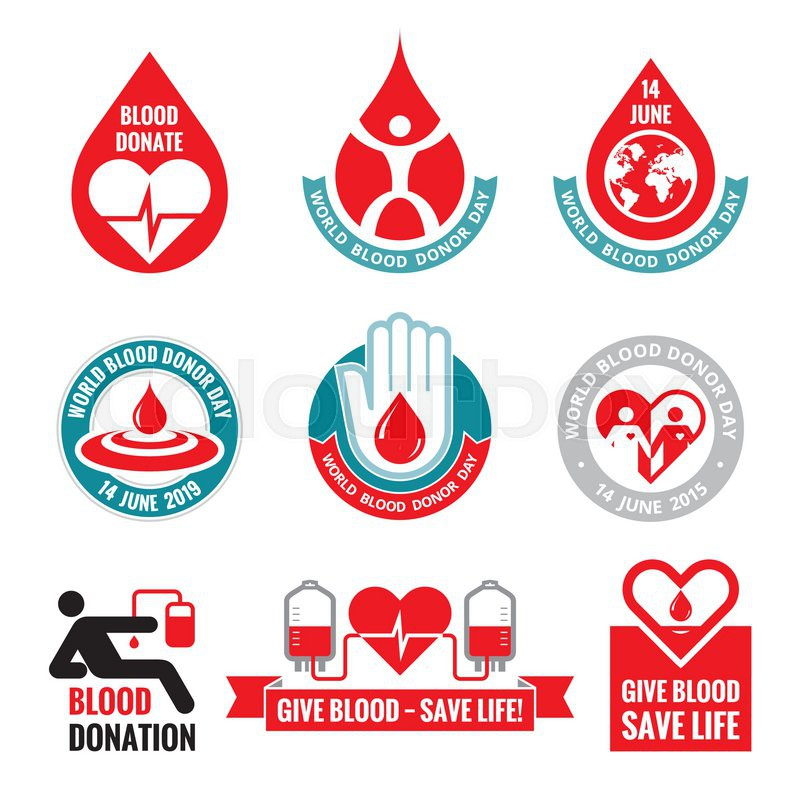 Blood donation vector logo badges collection world blood donor day 14 june heart and blood drop illustration blood donate vector set