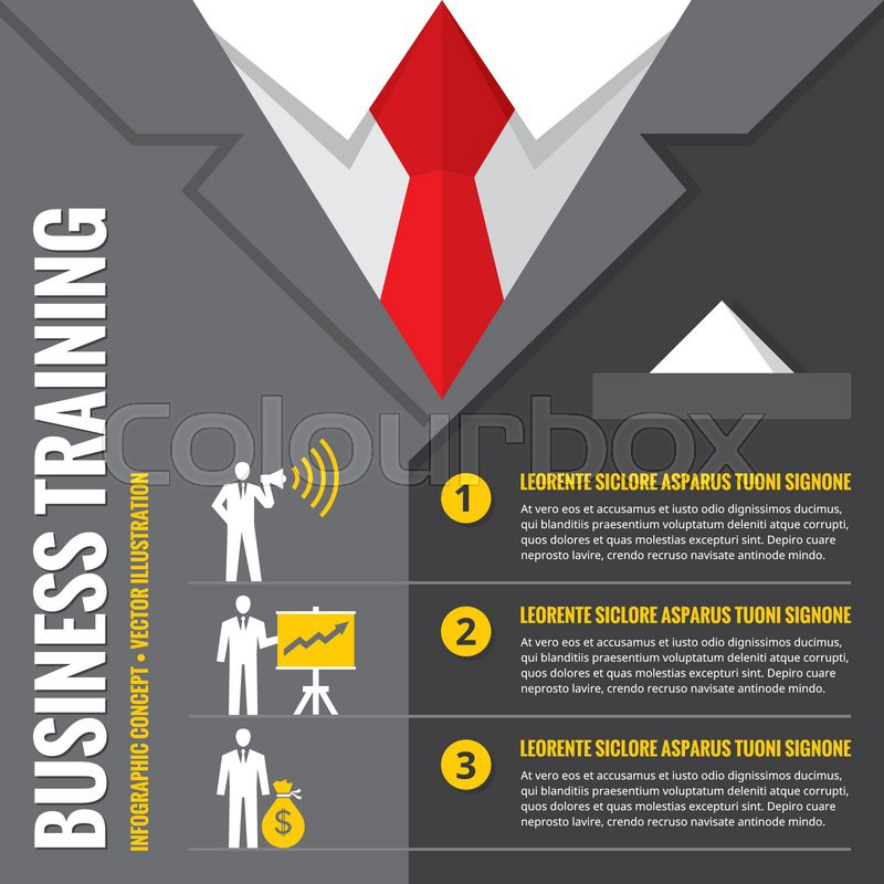 Business training - infographic vector illustration. Business man - infographic vector concept. Office suits infographic concept. Recruitment infographic concept. Design elements, vector