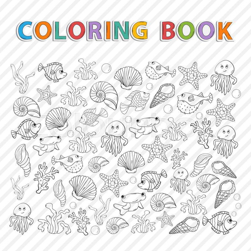 Vector Coloring BookMarine Life Hand Drawn Icon Set With Various Sea Inhabitants Seaweedsword Fishfish Urchin Octopus Jellyfishcoralshells