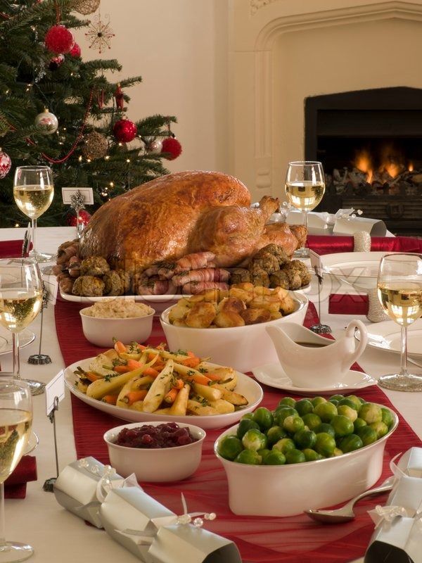 A Sumptious Christmas Dinner With Stock Photo