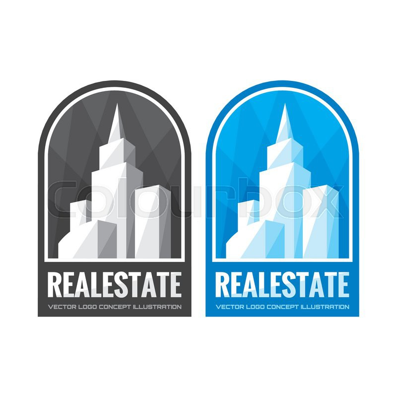 Real estate vector logo template concept illustration in grayscale ...