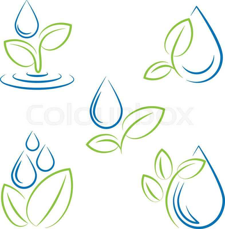 Water Drop And Leaf Symbol Vector Icon Set Stock Vector Colourbox