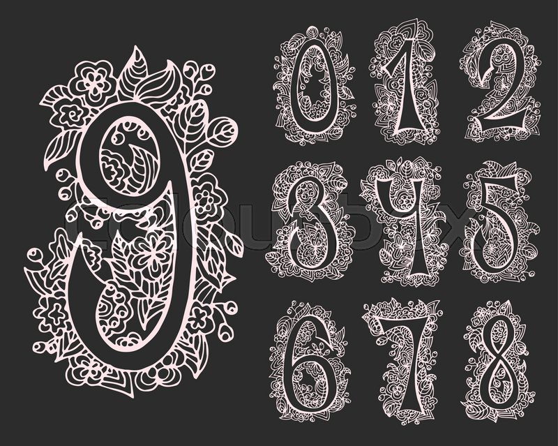 vector set of decorative numbers for cards and designs  hand drawn font and contours