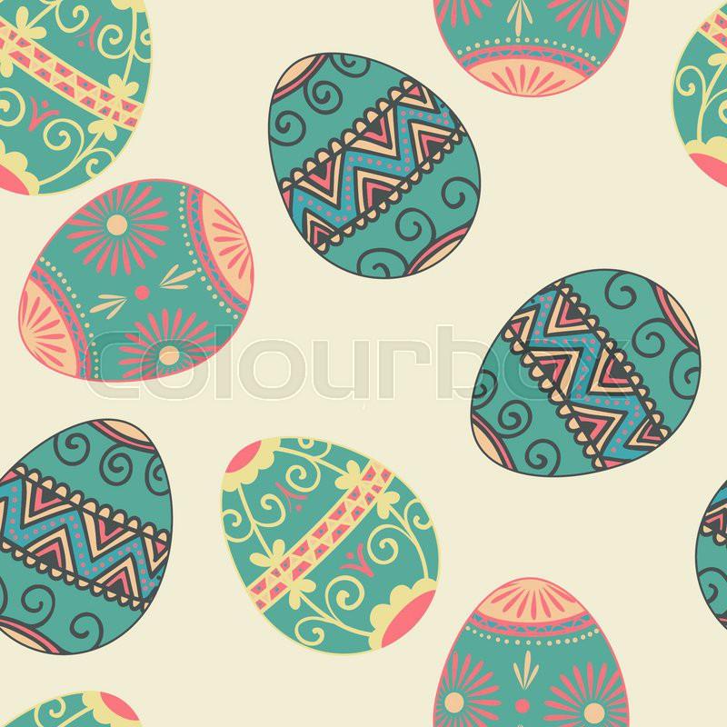 vector seamless easter eggs pattern background elegant texture for