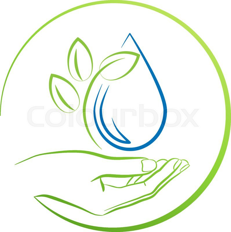 hand leaf and water drop logo concept vector illustration stock