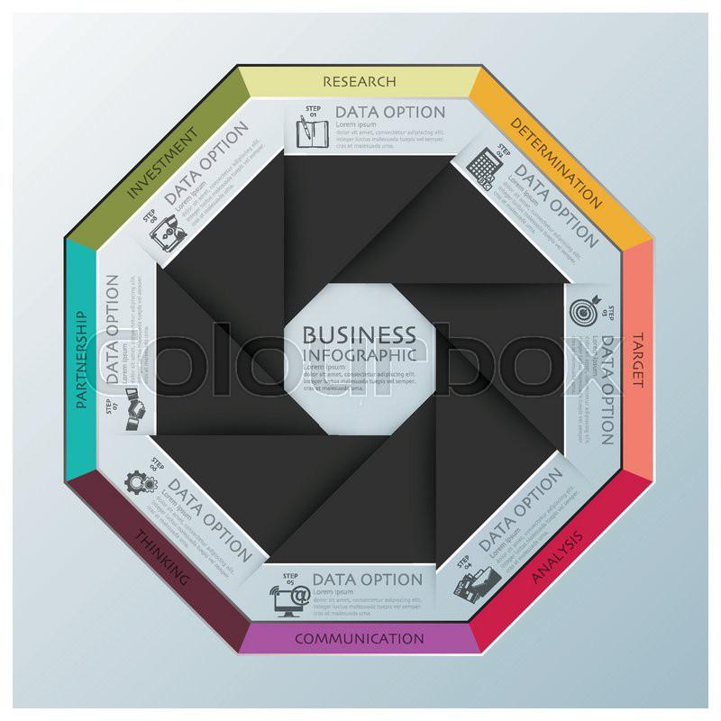 Modern Business Infographic Octagon Propeller Origami Style Design Template