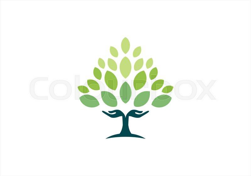 tree hand natural logo wellness yoga health symbol icon design rh colourbox com
